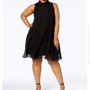 Jessica Howard Mock Neck Glitter Dot Dress